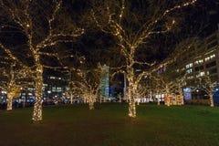 Adornado para la Navidad con las guirnaldas brillantemente coloreadas de árboles Foto de archivo