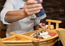 Adornamiento de la placa del sushi Imagen de archivo