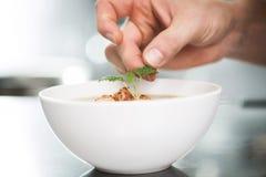 Adornamiento de la sopa con toronjil Imagen de archivo libre de regalías