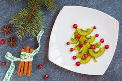 Adornamiento de la tabla de la Navidad, picea del ` s del Año Nuevo del kiwi Imagen de archivo libre de regalías