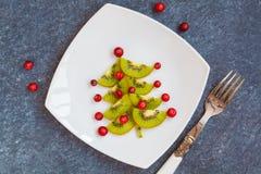 Adornamiento de la tabla de la Navidad, picea del ` s del Año Nuevo del kiwi Imágenes de archivo libres de regalías