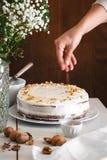 Adornamiento de la torta de zanahoria Fotografía de archivo libre de regalías