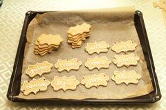 Adornamiento de las galletas con el tubo de la formación de hielo Fotografía de archivo libre de regalías