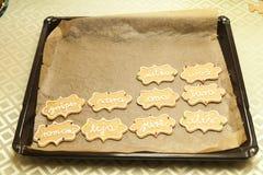 Adornamiento de las galletas con el tubo de la formación de hielo Imagenes de archivo