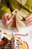 Adornamiento de las galletas del pan de jengibre Foto de archivo libre de regalías