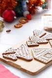 Adornamiento de las galletas del pan de jengibre Fotografía de archivo libre de regalías