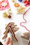 Adornamiento de las galletas del pan de jengibre Imágenes de archivo libres de regalías