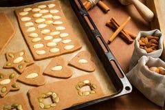 Adornamiento de las galletas del pan de jengibre con las tuercas Imagen de archivo libre de regalías