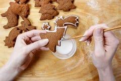 Adornamiento de las galletas del pan de jengibre para la Navidad Fotos de archivo