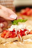 Adornamiento de los bruschettas del tomate con albahaca Fotografía de archivo libre de regalías