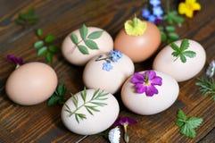 Adornamiento de los huevos de Pascua con las hojas y las flores Fotos de archivo
