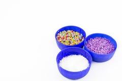 Adornamiento de los ingredientes para las comidas dulces Imagen de archivo libre de regalías