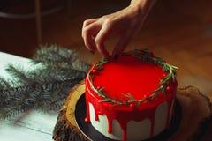 Adornamiento de proceso de la torta roja del ganache de la Navidad hecha en casa por las manos del ` s de la mujer con rozmarine  Fotografía de archivo libre de regalías
