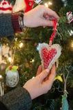 Adornamiento de un árbol de navidad Imagen de archivo libre de regalías