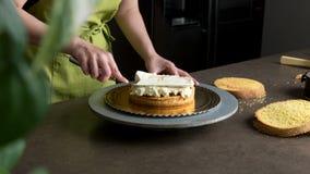 Adornamiento de una torta deliciosa con helado Fotografía de archivo