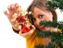 Adornamiento del árbol de navidad Foto de archivo libre de regalías
