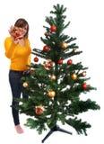 Adornamiento del árbol de navidad Fotografía de archivo
