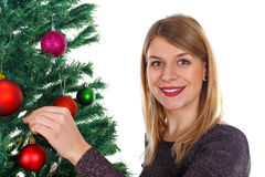 Adornamiento del árbol de navidad Imagen de archivo libre de regalías
