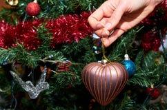 Adornamiento del árbol de navidad con amor Fotos de archivo