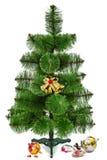 Adornamiento del árbol de navidad y de los juguetes quebrados, aislado en a Foto de archivo libre de regalías