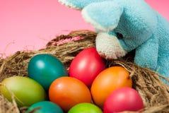 Adornamiento del conejito de pascua y de los huevos de Pascua coloridos Imagen de archivo libre de regalías
