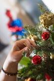 Adornamiento del ramo de la Navidad con los ornamentos y la rama de árbol rojos Fotografía de archivo libre de regalías