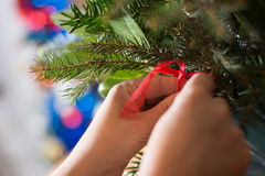 Adornamiento del ramo de la Navidad con los ornamentos y la rama de árbol rojos Fotografía de archivo
