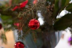 Adornamiento del ramo de la Navidad con los ornamentos y la rama de árbol rojos Foto de archivo