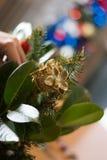 Adornamiento del ramo de la Navidad con los ornamentos y la rama de árbol rojos Fotos de archivo libres de regalías