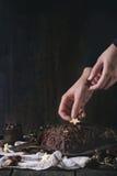Adornamiento del registro de yule del chocolate de la Navidad Foto de archivo libre de regalías