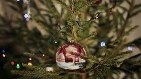 Adornamiento en el árbol de navidad almacen de metraje de vídeo