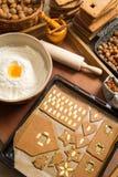 Adornando las galletas del pan de jengibre nuts momentos antes de la hornada Fotografía de archivo