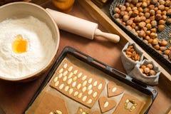 Adornando las galletas del pan de jengibre nuts momentos antes de la hornada Imágenes de archivo libres de regalías