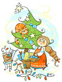 Adorne el árbol de navidad Fotos de archivo libres de regalías