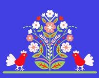 Adorne el árbol del ` del ` de la vida con dos pájaros en un fondo azul Imagenes de archivo