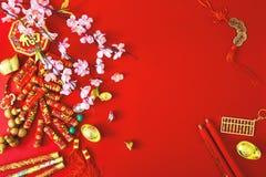 Adorne el Año Nuevo chino 2019 en un fondo rojo (caracteres chinos Fu en el artículo refiera a la buena suerte, riqueza, flujo de foto de archivo