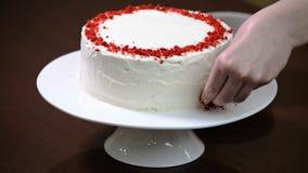 Adorne el terciopelo del rojo de la torta almacen de video