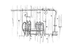 Adorne en pared de madera del estilo del desván y muestre el tubo eléctrico de acero ilustración del vector