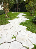Adorne la calzada en el jardín con la hierba verde Fotografía de archivo libre de regalías
