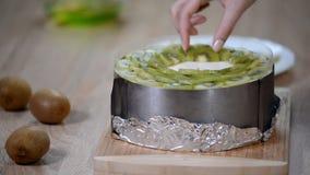 Adorne la torta de la crema batida con el kiwi almacen de metraje de vídeo