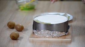Adorne la torta de la crema batida con el kiwi almacen de video