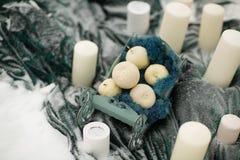 Adorne las velas con las flores y la nieve del invierno Foto de archivo