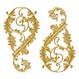 Adorne los elementos, diseños florales del oro del vintage en el backgrou blanco Foto de archivo