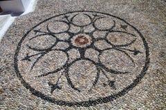 adorne los guijarros lisos del pavimento, Rodas, Grecia Fotografía de archivo