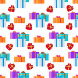 Adorned Festive Present Boxes Seamless Pattern. Groups of gift boxes with colourful ribbons and bows endless texture with white background. Vector illustration Royalty Free Stock Photo