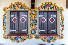 Adorned Wood Windows Gramado Brazil Stock Photos