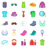 Adornment icons set, cartoon style. Adornment icons set. Cartoon set of 25 adornment icons for web isolated on white background Royalty Free Stock Images