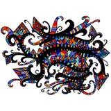 Adorno étnico brillante, multicolor, fondo gráfico para el diseño stock de ilustración