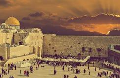 Adorno bíblico con la ciudad vieja de Jerusalén, Israel Imagen de archivo