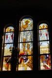 Adorno bíblico representado en la ventana de la iglesia en el techn Fotografía de archivo libre de regalías